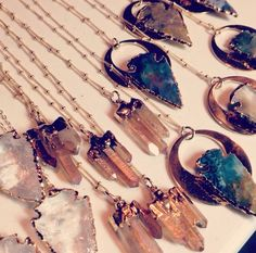 Arrow head & crystal necklaces