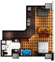 One Bedroom Floor Plan for Elara Hilton Grand Vacations Center