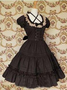 Black Front Ties Collar Lace Gothic Lolita Dress #lolita #sweetlolita