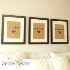 burlap art in bedroom - love the dates and symbols for master bedroom DIY wall art!