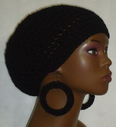 crochet beret tam and earrings by Razonda Lee Crochet Beret, Berets, Crochet Earrings, Etsy Seller, Hoop Earrings, Dreadlocks, Ear Rings, Medium, Jewelry