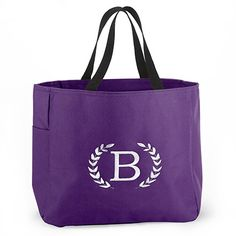 Crest Monogram Tote Bag in your choice of color!  http://partyblock.carlsoncraft.com/Wedding/Wedding-Party-Gifts/ZB-ZBKX50384P-Crest-Monogram--Tote-Bag--Purple.pro