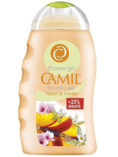 Gel de duș cu piersici și vanilie Camil 250ml  cod - cami238   Acordă-ţi răsfăţul pe care pielea ta îl merită cu acest gel de duş. Bucură-te de o piele mai frumoasă în fiecare zi şi de parfumul delicat ce îţi învăluie simţurile, graţie formulei speciale hidratante cu piersici şi extract de vanilie. Pentru utilizare zilnică  200ml+50ml Gratis Spa, Shower Gel, Lemonade, Vanilla, Peach, Drinks, Bottle, The Body, Fragrance