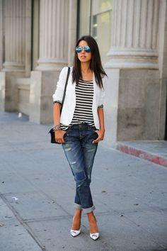 white blazer boyfriend jeans