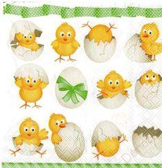 Ubrousky, papíry, transfery | Ubrousek 230 velikonoční kuřátka | Denore