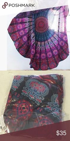 Beautiful purple red beach cover up Super pretty patterns. Great for beach cover up. Nwot Swim Coverups