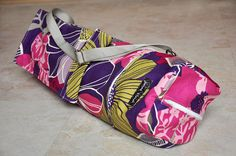 yoga mat bag  purple pink yellow and gray floral by JoannaStanek1, $42.00
