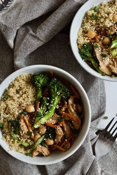 This is my perfect lunch. Teriyaki Chicken Quinoa Power Bowl! High in protein, gluten free, dairy free, healthy and super delicious.