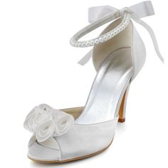 Minitoo Womens Peep Toe Stiletto Heel Flower Bridal Ivory Satin Back Strap Sandal 11 M US -- You can get additional details at the image link.