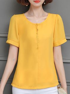 Round Neck Plain Blouses - Look Fashion Blouse Styles, Blouse Designs, Cheap Womens Tops, Blouse Dress, Trendy Tops, Trendy Outfits, Tunic Tops, Casual, Tops Online