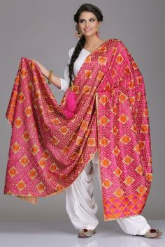 Vibrant Pink & Orange Cotton Bagh Dupatta With Phulkari Embroidery