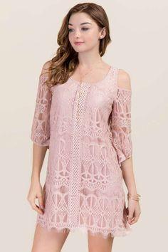 Chrissy Cold Shoulder Lace Shift Dress