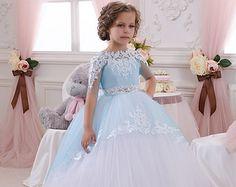 Ivory Lace Flower Girl Dress Birthday Wedding por Butterflydressua