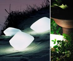 Glowing Outdoor Stone Lights  Available from YLighting – priced at $565.50 each.