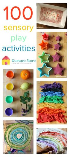 100 sensory play activities for babies, toddlers, preschool and school - great index, organised by material