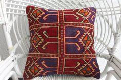 unique kilim pillow cover 16x16 embroidered pillow kelim kissen throw pillow 16x16 burgundy pillow purple pillow geometric cushion 1575