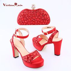 WesternRain Latest Red Shoes with Bag for Bridal Canada Wedding Party High Heel Open Toe Sandals