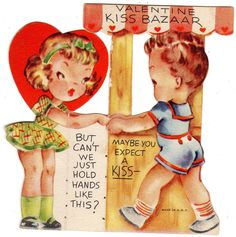 RARE Art Deco Valentine's Day Card Kissing Booth c1940 Can'T We Just Hold Hands | eBay