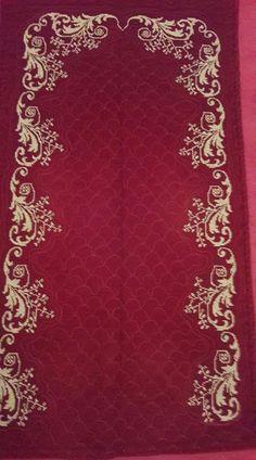 Embroidery Suits Design, Embroidery Patterns, Mantel Azul, Arabesque Pattern, Prayer Rug, Bargello, Cross Stitch Flowers, Baby Knitting Patterns, Cross Stitch Designs