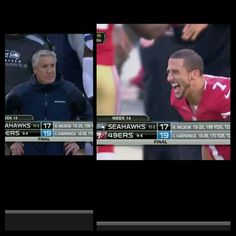 I hate Pete Carroll! LOVE the smile on Kap's face!