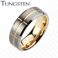 S17 Tungsten Carbide Gold Beveled Sectioned Wedding Band Ring Sz 9 - 13   $29.99