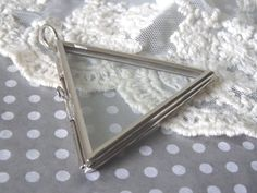 1- Glass Triangle Locket Flat Glass Pane Shadow Box Double Sided Hinged Window Locket Pendant Diy Jewelry Making Supplies Inv0004 by BuyDiy on Etsy