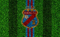 Download wallpapers Arsenal Sarandi, 4k, football lawn, logo, Argentinian football club, grass texture, red blue lines, Superliga, Sarandi, Argentina, football, Argentine Primera Division, Superleague