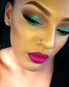 Turquoise & brown eye.  Bold lip