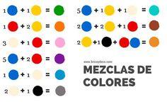 guía de mezclas de tintes para obtener diferentes colores #colors #diy Más