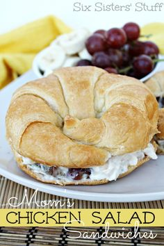 Mom's Chicken Salad Sandwiches  3  cups chicken breast (cooked, diced)  1  cup Almonds (slivered)   3/4  cup mayonnaise   1/4  cup buttermilk   1 1/2 cups grapes (red grapes, halved)   1 cup celery (chopped)   1/2 cup ranch dressing (liquid dressing)    1/2    package ranch dressing mix (dry mix)     2    tablespoons dill weed     8    butter croissants (or your favorite roll or bun)