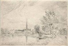 Disegno preparatorio, La cattedrale di Salisbury, John Constable, matita su carta, 1823 circa.