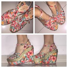 Beautiful Floral Wedges! ✨ Worn TWICE!                                                               ✨ Really comfortable!                                                                                   ✨ Will model if requested!                                               ✨Love to bundle and answer questions! Shoes Wedges