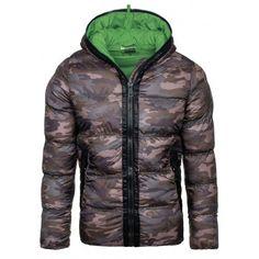Maskáčová zimná pánska bunda so zeleným vnútrom a kapucňou - fashionday.eu 0db25a0d05e
