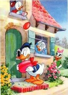 ✶ It looks like Donald's calling on Daisy, but Daisy sees him and doesn't appear to be letting him know. I wonder why? Walt Disney, Evil Disney, Disney Duck, Disney Love, Disney Magic, Disney Art, Donald Duck Comic, Donald And Daisy Duck, Mickey Mouse And Friends