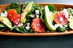 Spinach, feta and blood orange salad