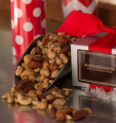 Gift Item | Mixed Nuts in a Silver Holiday Gift Box. Just right for that special HOME! Send one to yourself and one to a friend, today! SOC ID 72492