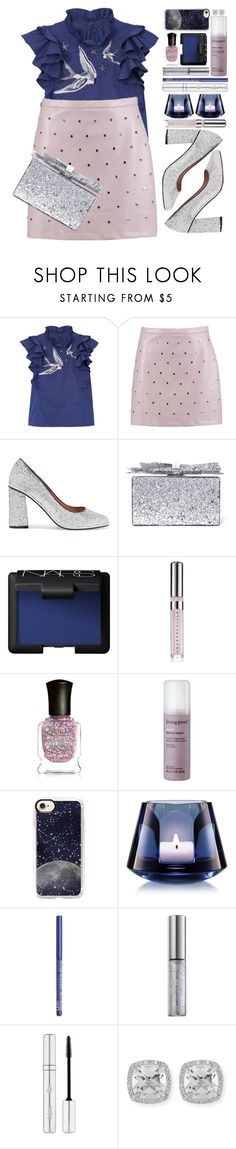 """""""#1192 Tyna"""" by blueberrylexie ❤ liked on Polyvore featuring Rebecca Taylor, Boohoo, RED Valentino, Edie Parker, NARS Cosmetics, Chantecaille, Deborah Lippmann, Living Proof, Casetify and Baccarat"""