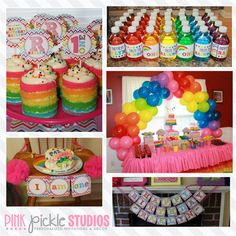 Chevron Rainbow Birthday Party Printables di PinkPickleParties