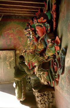 The Guardian Kings of Kumbum in Gyantse, Tibet