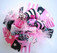 boutique FUNKY FUN ROCKSTAR hair bow clip by andjane on Etsy, $12.99
