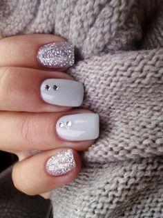 modele d ongle en gel de couleur gris, ongle en gel deco facile