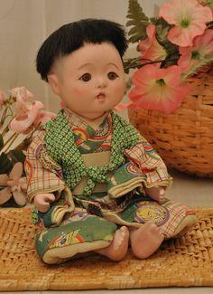 REDUCED...  Japanese Antique Ichimatsu Baby Boy Doll by DLDowns, $298.00