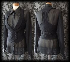 Gothic Black Double Breasted BEWITCHING Corset Waistcoat 6 8 Victorian Vintage - £24.00