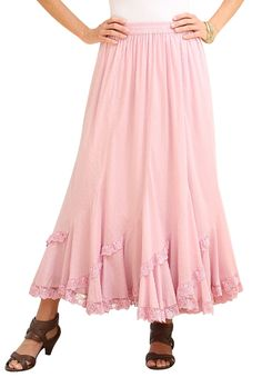 French Skirt by Denim 24/7 | Plus Size Skirts | fullbeauty Swiss dot cotton with lace hem