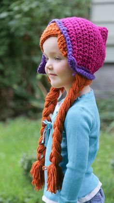 Isla would love this- Anna Crochet wig hat with Braids by YellowSpotDesigns on Etsy