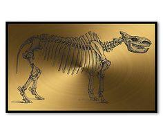 Digitaldruck Prehistoric auf Alu-Dibond, schwarz/goldfarben, 50 x 30 cm