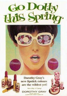 "Dorothy Gray ""Go Dotty This Spring"" Lipstick Ad, 1967 Vintage Makeup Ads, Retro Makeup, Vintage Beauty, Vintage Ads, 1960s Makeup, Retro Ads, Patti Hansen, Lauren Hutton, Grey Lipstick"