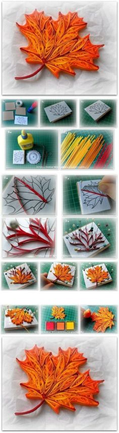 How to make Quilled Maple Leaf step by step DIY tutorial instructions