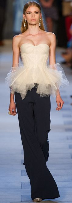 Zac Posen SS '13.--like the bodice with net peplum--too much fun!