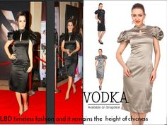Sculpted Shouldered Dresses by Vodka Fashion India. This dress is sharp enough to get eyes stuck on you. Shop Online: http://goo.gl/2Wd7RL #Black#Dresss#LBD#Puff#Chic#VodkaFashion#Satin#EveningDress